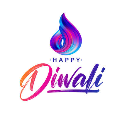 Greeting card with handwritten lettering of Happy Diwali and colorful brush stroke Illusztráció