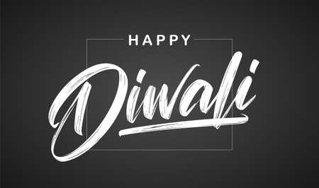 Handwritten calligraphic brush lettering of Happy Diwali on chalkboard background Illusztráció