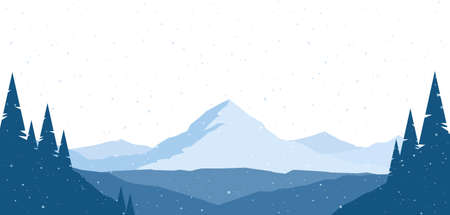 Vector illustration: Winter snowy Mountains flat landscape with silhouette of pines on hills.