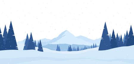 Illustration vectorielle : Paysage plat de montagnes enneigées d'hiver avec des pins et des collines.