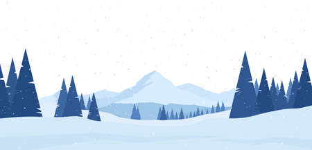 Vector illustration: Winter snowy Mountains flat landscape with pines and hills. Иллюстрация