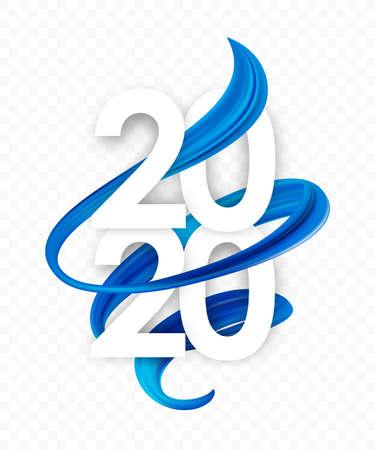 Ilustración vectorial: Feliz año nuevo. Número de 2020 con forma de trazo de pintura retorcida abstracta azul. Diseño de moda Ilustración de vector