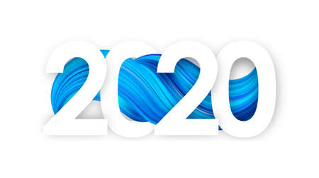 Vector illustration: Happy New Year. Number of 2020 with blue abstract twisted paint stroke shape. Trendy design Stock fotó - 130503116