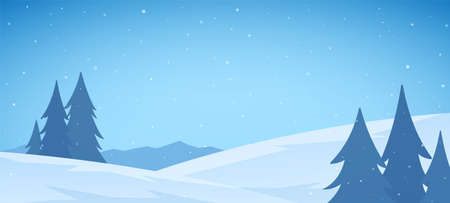 Vector illustration: Cartoon Winter snowy Mountains flat landscape with pines and hills. Christmas background Stock fotó - 130503130