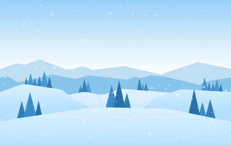 Vector illustration: Blue Winter Mountains landscape with pines and hills.