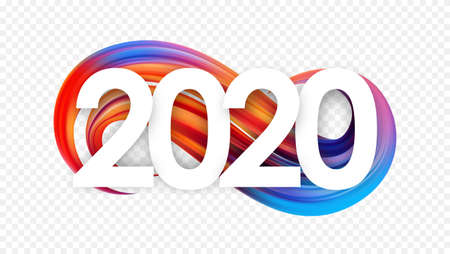 Vector illustration: Happy New Year. Number of 2020 with colorful abstract twisted paint stroke shape. Trendy design