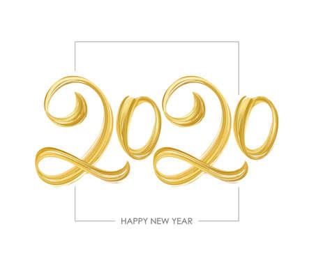 Vector illustration: Handwritten brush golden paint lettering of 2020. Happy New Year
