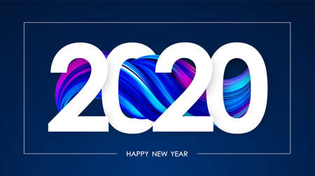 Vector illustration: Happy New Year 2020. Greeting card with colorful abstract twisted fluide shape. Trendy design