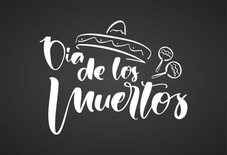 Handwritten lettering of Dia de Muertos, day of the Dead. Spanish text calligraphy on chalkboard background Stock fotó - 132953479