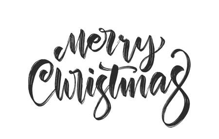 Vector illustration. Handwritten calligraphic brush lettering of Merry Christmas isolated on white background.