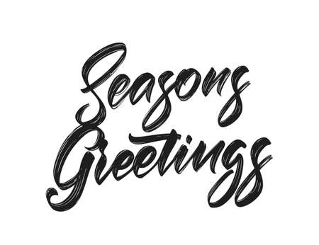 Vector illustration. Handwritten calligraphicbrush lettering of Seasons Greetings on white background. 向量圖像