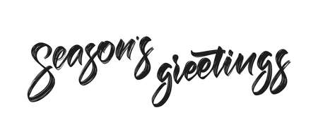 Vector illustration. Handwritten calligraphicbrush lettering of Seasons Greetings