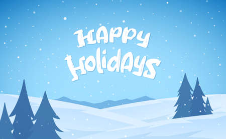 Vector illustration. Blue mountains winter snowy landscape with hand drawn lettering of Happy Holidays. Stock fotó - 131847163