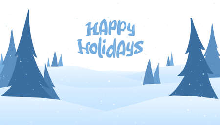 Vector illustration: Christmas greeting card with cartoon lettering of Happy Holidays and winter snowy background with pines.