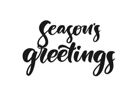 Vector illustration. Handwritten elegant modern brush lettering of Seasons Greetings on white background.