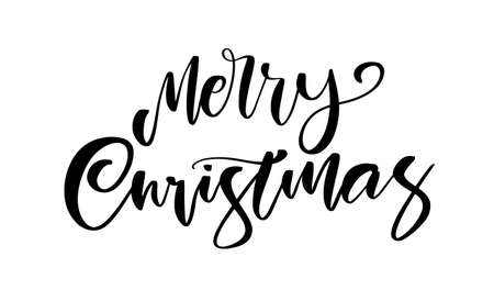 Vector illustration. Handwritten calligraphic lettering of Merry Christmas on white background.
