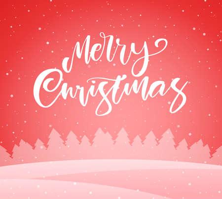 Vector illustration: Handwritten elegant modern brush lettering of Merry Christmas on red winter background.