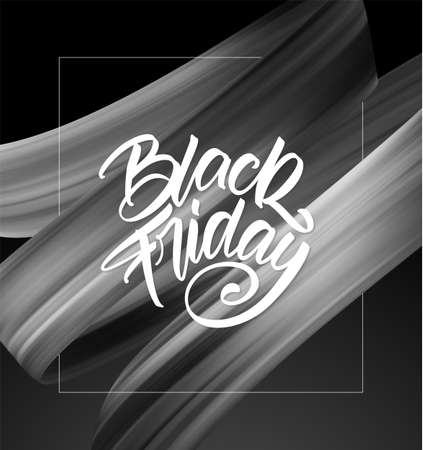 Sale poster with calligraphic lettering composition of Black Friday and brushstroke twisted liquid shape.