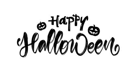 Hand drawn lettering of Happy Halloween with pumpkins on white background Stock fotó - 132953509