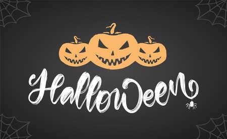 Hand drawn lettering of Halloween with pumpkins and spider on chalkboard background Ilustração