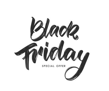 Handwritten modern brush calligraphic type lettering of Black Friday on white background Stock fotó - 132953513