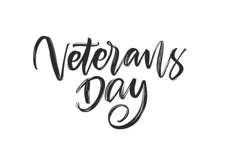 Handwritten calligraphic brush type lettering of Veterans Day