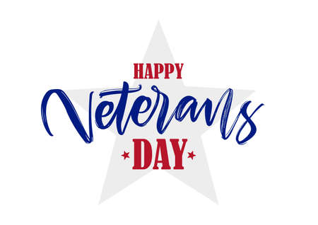 Handwritten calligraphic lettering composition of Happy Veterans Day Ilustração