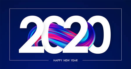 Happy New Year 2020. Greeting poster with colorful abstract twisted paint stroke shape. Trendy design Stock fotó - 132953516