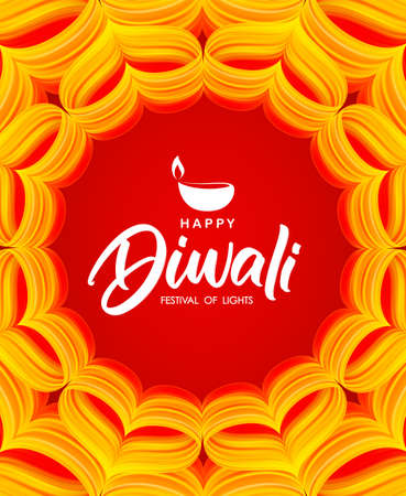 Happy Diwali. Greeting card with hand lettering, Indian ornament and lamp. Modern design