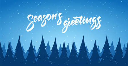 Vector cartoon winter Christmas forest background with snowflakes and hand lettering of Seasons Greetings Stock fotó - 132769460