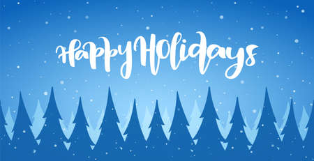 Vector cartoon winter Christmas forest background with snowflakes and hand lettering of Happy Holidays