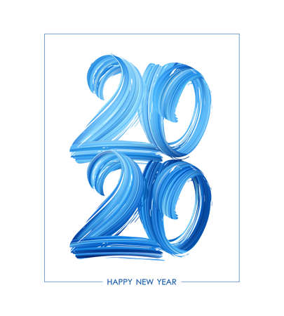 Hand drawn brush stroke blue paint lettering of 2020. Happy New Year Stock fotó - 132776088