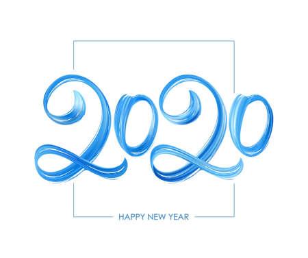 Handwritten brush stroke blue paint lettering of 2020. Happy New Year