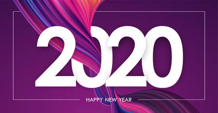 Happy New Year 2020. Greeting card with colorful abstract twisted paint stroke shape.