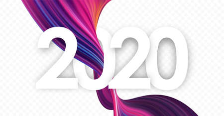 Happy New Year 2020. Template of greeting card with colorful abstract twisted paint stroke shape. Stock fotó - 132782989