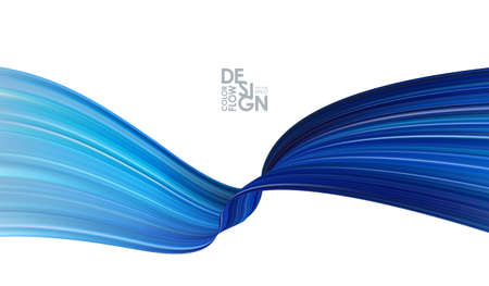 Vector illustration: Modern abstract banner background with 3d twisted blue flow liquid shape.