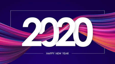 Happy New Year 2020. Greeting card with colorful abstract twisted paint stroke shape. Stock fotó - 132782703