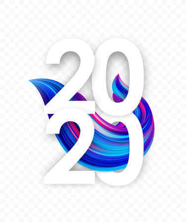 Happy New Year 2020. Greeting poster template with colorful twisted paint stroke shape. Trendy design Illusztráció