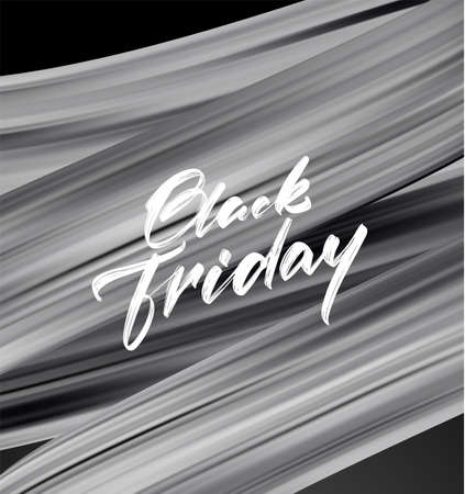 Vector illustration: Sale poster with calligraphic type lettering composition of Black Friday and brushstroke twisted liquid shape. Stock fotó - 132953524
