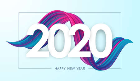 Vector illustration: Happy New Year 2020. Greeting card with colorful abstract twisted acrylic paint stroke shape. Trendy design 向量圖像