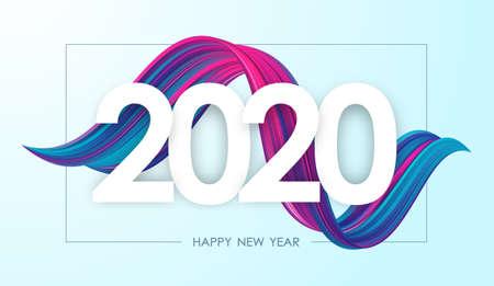 Vektorillustration: Frohes neues Jahr 2020. Grußkarte mit bunter abstrakter, verdrehter Acrylfarbe. Trendiges Design