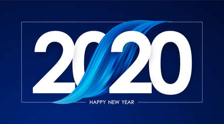 Vector illustration: Happy New Year 2020. Greeting card with blue abstract acrylic paint stroke shape. Trendy design 向量圖像