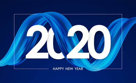 Vector illustration: Happy New Year 2020. Greeting card with blue abstract twisted acrylic paint stroke shape. Trendy design