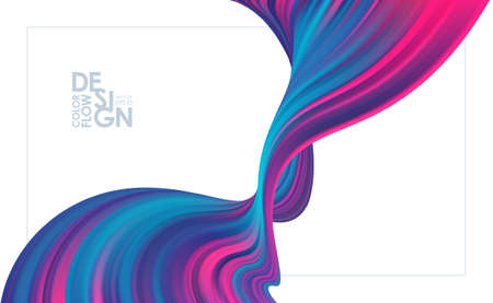 Vector illustration: Modern neon colors flow background. Abstract wave liquid shape. Trendy art design Stock fotó - 132795580