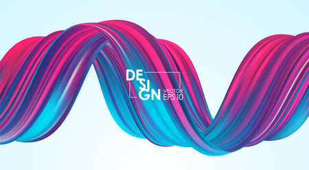 Vector illustration: Modern abstract background with 3d twisted neon colored flow liquid shape. Acrylic paint design Stock fotó - 132796002