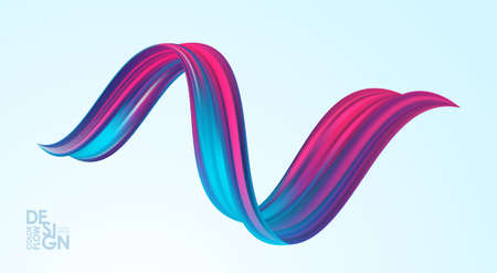 Vector illustration: 3d abstract twisted colorful flow liquid shape. Acrylic paint sroke. Modern design Stock fotó - 132798648