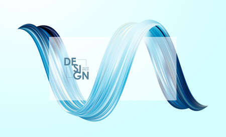 Vector illustration: Modern abstract blank background with 3d twisted blue flow liquid shape. Acrylic paint design