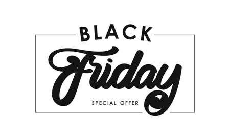 Vector illustration: Calligraphic lettering composition of Black Friday in frame on white background. Special offer.