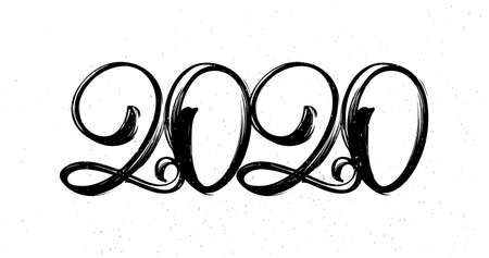 Vector illustration: Hand drawn brush lettering of number 2020. Happy New Year.
