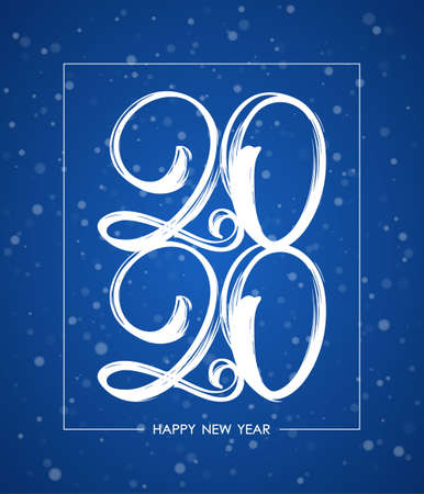 Vector illustration: Handwritten brush ink number of 2020 in frame on snowfall background. Happy New Year.